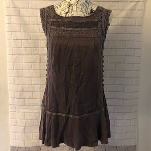 Free People silk shirt top blouse embroidered